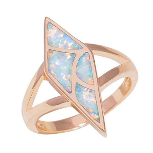 MARRLY.H Created White Fire Opal Rose Gold Color Style Jewelry for Women Wedding Engagement Ring White 8