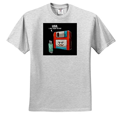 3dRose Sven Herkenrath Nerd - Retro Graphic with USB Stick and Floppy Disk Vintage Nerd - Toddler Birch-Gray-T-Shirt (4T) (ts_308581_33)