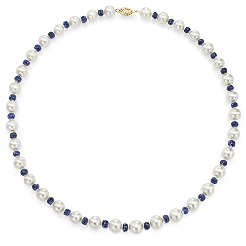 La Regis Jewelry 14K Yellow Gold Freshwater Cultured White Pearl Sapphire Necklace Anniversary Gift 18 inch 8-8.5mm - Mother Of Pearl Sapphire Necklace