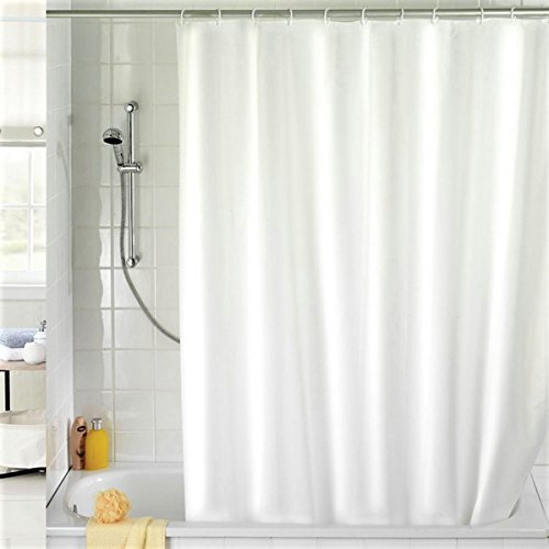 lovely white clean shower curtain.