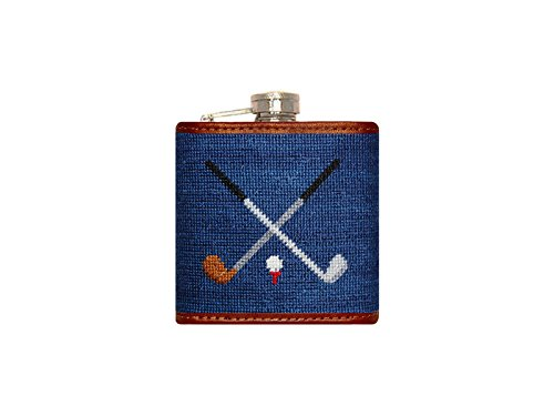 Smathers & Branson Blue Golf Clubs Needlepoint Stainless Steel Flask - Needlepoint Flask