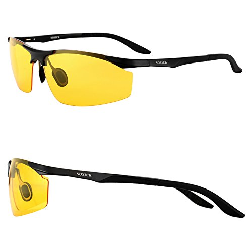 Night Driving Glasses Anti Glare Polarized HD Lenses for Night Safety Glasses (Black-2, yellow)