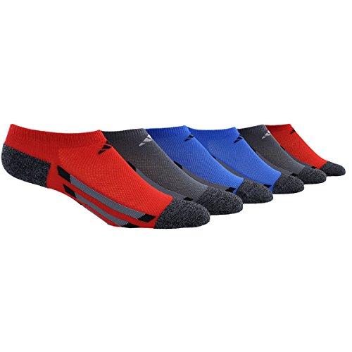 adidas Youth Cushioned 6pk No Show Sock, Scarlet/Onyx/Blue/Black Marl/Light Onyx/Black, Large ()