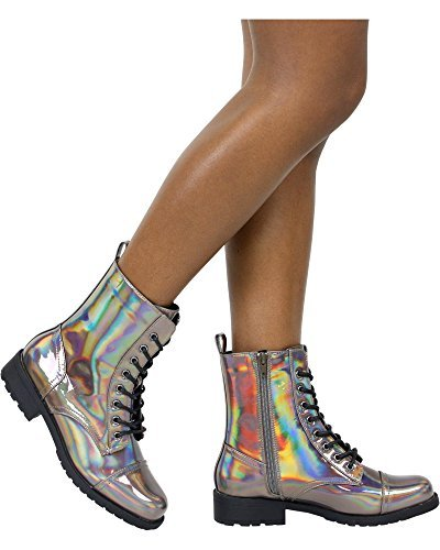 Wild Diva Women's Chrome Holo Military Boot,7.5 D(M) US,Pewter