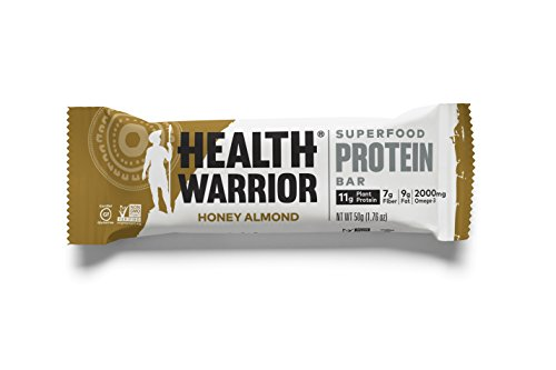 HEALTH WARRIOR Superfood Protein Bars, Honey Almond, Plant-Based Protein, 50g bars, 12 count Vegan Honey