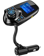 Nulaxy Wireless in-Car Bluetooth FM Transmitter Radio Adapter Car Kit W 1.44 Inch Display Supports TF/SD Card and USB Car Charger for All Smartphones Audio Player
