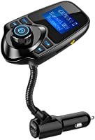 Nulaxy Bluetooth Car FM Transmitter Audio Adapter Receiver Wireless Hands Free Car Kit W 1.44 Inch Display - KM18 Black