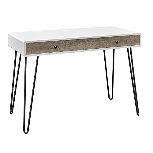 Altra Furniture Altra Owen Retro Writing Desk, White & Sonoma Oak - Console Style Vanity