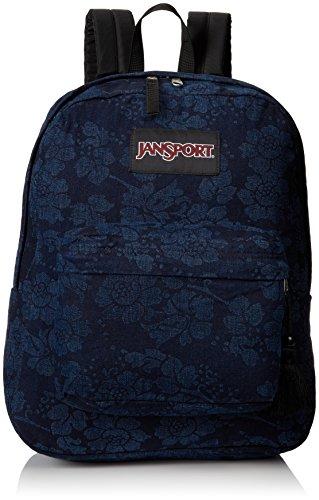 "JanSport Super FX Backpack - Fun Floral On Denim / 16.7""H x 13""W x 8.5""D"