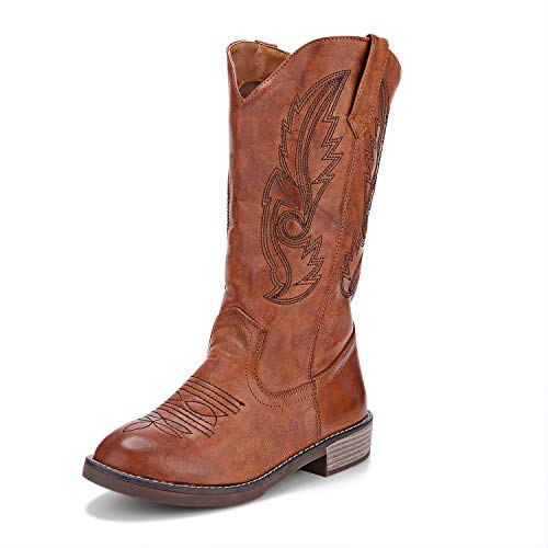 Freemin Women's Western Cowgirl Cowboy Boots Mid Calf Round Toe Embroidered Tan US 11 ()