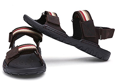 and Hook Loop Brown Mens Casual Stripes Water Beach 2 Outdoor Strap Sandals Shoes 8Y0xTYwa