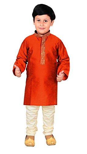 Boys Sherwani Kurta Pajama Asian Wedding Mehendi 914 (5 (5 yrs), Burnt Orange) by Desi Sarees