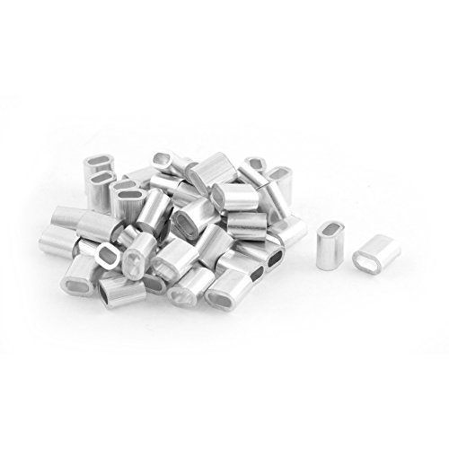 uxcell Oval Aluminum Sleeves Clamps for 2mm Wire Rope Swage Clip 50pcs