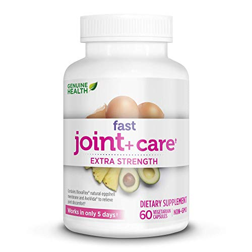 Genuine Health Fast Joint Care+ Extra Strength, Eggshell Membrane, Natural Rapid Pain Relief, 60 Capsules
