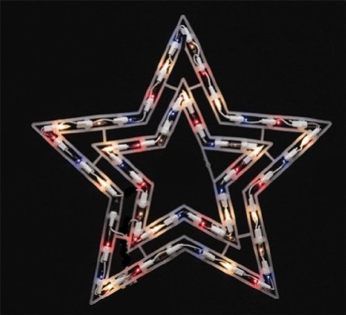 Sienna X6404r11 Lighted Shimmering Star Christmas Decoration, Red/white/blue, Plastic Moravian Lighted Star
