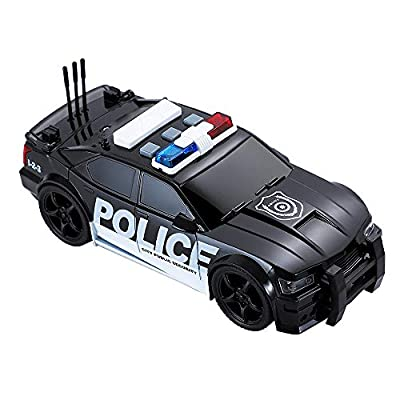 Tuk Tuk Brand Friction Powered  Police Car Toy Best Plastic Pursuit Rescue Vehicle with Sirens Sound and Light for Kids 1:20: Toys & Games