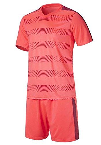 北方意外進行中BOZEVON メンズ&ボーイズサッカーTシャツ、サッカージャージ、通気性の半袖シャツ+サッカーショートパンツ
