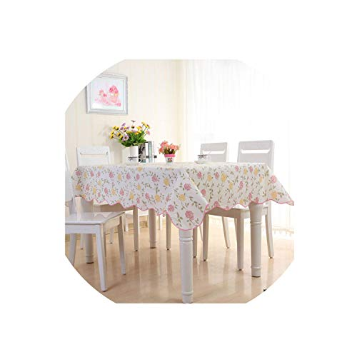 Oil-Proof Plastic Waterproof Rectangular Anti-Scalding PVC Tablecloth Kitchen Home Accessories Table Cover,Rose,106X152Cm ()
