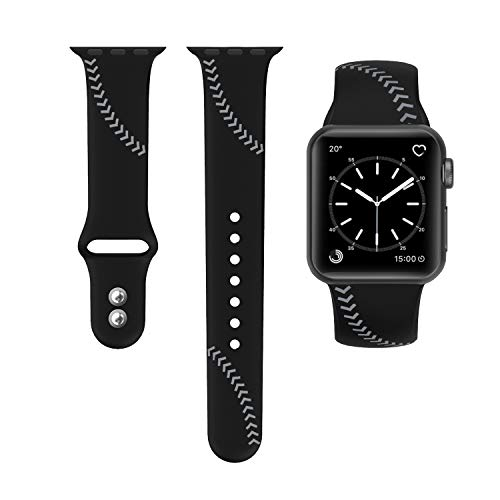 SWEES Sport Band Compatible for Apple Watch 42mm 44mm, Soft Silicone Men Women Large Small Strap Replacement Compatible with iWatch Series 4 Series 3 Series 2 Series 1 Nike+, Sport & Edition, Black