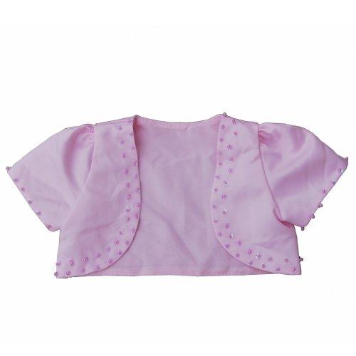 F&L Flower Girls' Short Sleeve Satin Bolero Jacket with Beadings Size 4 Pink