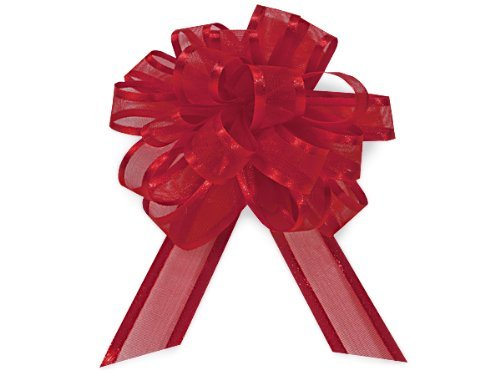 RED Sheer w/ Satin Edge4 - 18 loops- Organza Pull Bow (5 unit, per unit.) by Nas by Nas