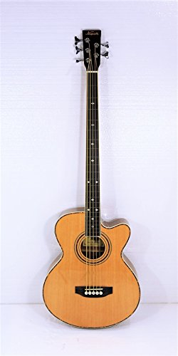 Fretless 5 String Cutaway Acoustic Electric Bass, Spruce Top - Acoustic Electric Fretless Bass Guitar