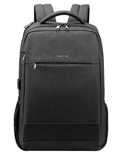 Travel Laptop Backpack, Anti-Theft Business Daypacks with USB Charging Port, Tigernu Water Resistant College School Bookbag for Men/Women, Slim Computer Bag Fits up to 15.6'' Laptops/Notebook, Black by TIGERNU