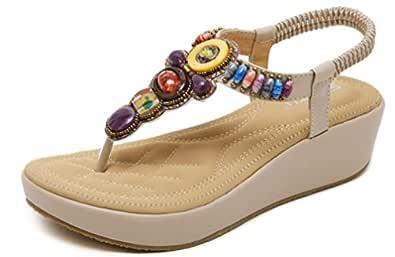 Sandalias Mujer Plataformas Cu/ña Verano Alpargatas Tacon 7cm Vestir Sandalias y Chanclas Romanas Flipflop Bohemias Zapatos Negro Beige Marr/ón 35-43 EU Beige 36
