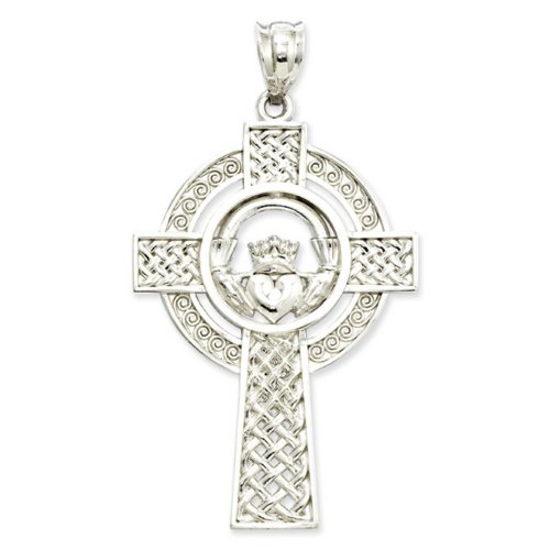 Icecarats Créatrice De Bijoux Or Blanc 14K Claddagh De Celtic Pendentif Croix