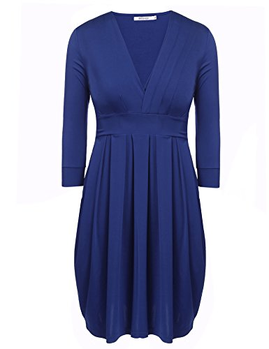 Meaneor Women Plus Size Sexy V-Neck 3/4 Sleeve Pleated Cocktail Party Dress(L-4XL) (Sexy Plus Dress)