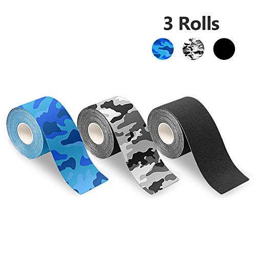 Kinesiology Tape Elastic Sports Tape for Athletes? Breathable Water Resistant Reduce Pain Recovery Athletic Adhesive Tape for Muscles Knee Shoulder 3 Rolls Pack? 2 Inch x 16.4 feet