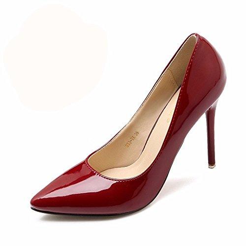 HXVU56546 El Nuevo Y Elegante Y Atractivo Tacones Altos Durante La Primavera Y El Otoño Solo Zapatos Zapatos De Mujer Zapatos De Trabajo 36 Rojo Vino