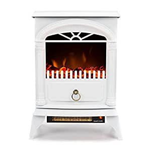 Hamilton Portable Free Standing Electric Fireplace Stove by e-Flame USA – 22-inches Tall – Winter White – Features Heater and Fan Settings with Realistic and Brightly Burning Fire and Logs