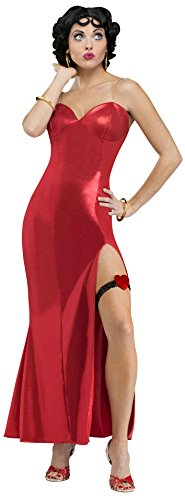 [Fun World Costumes Women's Betty Boop (Gown) Adult Costume, Red, Small] (Betty Boop Wig)