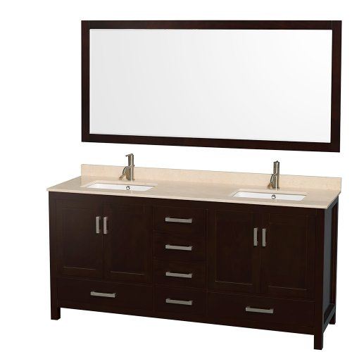 Wyndham Collection Sheffield 72 inch Double Bathroom Vanity in Espresso, Ivory Marble Countertop, Undermount Square Sinks, and 70 inch Mirror (Ivory Bathroom Vanity)