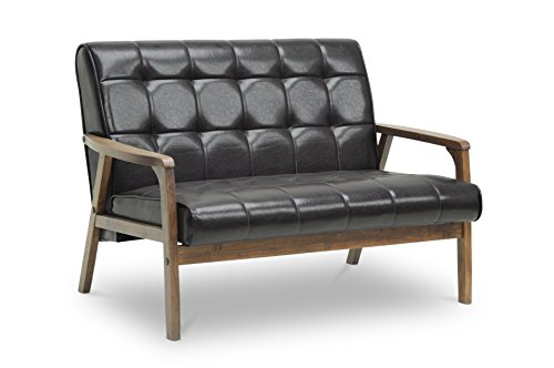 Baxton Studio Mid-Century Masterpieces Love Seat, Brown (Contemporary Modern Loveseat)