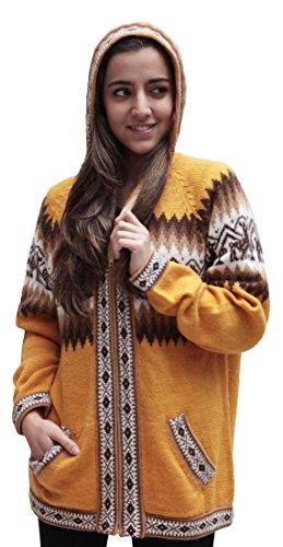 Alpaca Wool Womens Sweaters (Little Llamas Hooded Alpaca Wool Knitted Jacket Hoodie Sweater (Medium,)