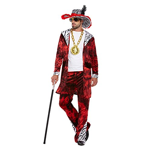 Mens Red Big Daddy Pimp Gangster 1920s Fancy Dress Costume Outfit STD & XL (STD)