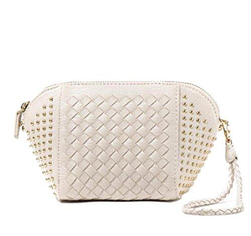 Otoño E Invierno Nueva Moda Simple Remaches Tejiendo Hombro Bolso Diagonal Paquete Shells Chica White