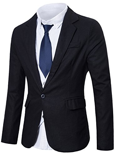 Lende+Men%27s+Fashion+Lightweight+Cotton+and+Lined+One-Button+Suit+Blazer%2CBlack%2CLarge