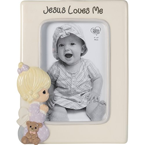 Frame Moments - Precious Moments Praying Girl Jesus Loves Me Ceramic 4x6 185033 Photo Frame One Size Multicolor