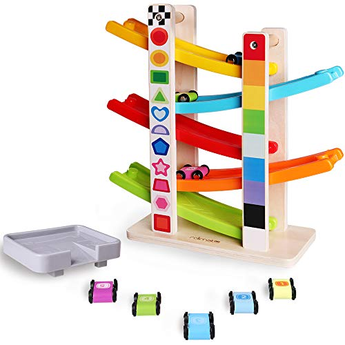 Small Wooden Cars - rolimate 5 Level Wooden Ramp Racer Swtichback Racetrack with 5 Speed Cars, Early Educational & Fun Toys for 3 Years Old and up(Forest)