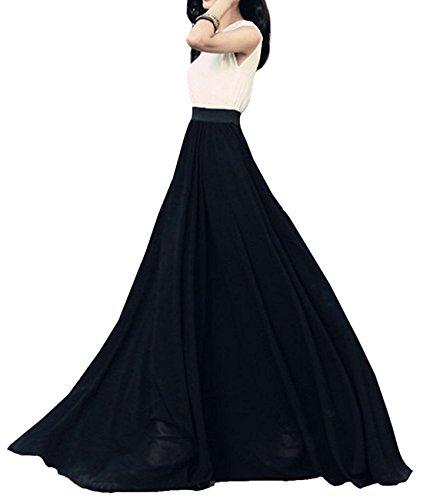 c9d76b486a59 FUTURINO Women's High Waist Floor Length Chiffon Flowy Black Maxi Skirt:  Amazon.co.uk: Clothing