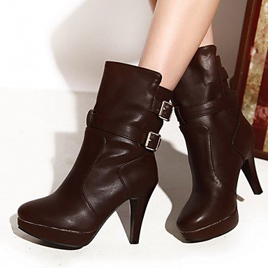 Women's Shoes PU Leatherette Fall Winter Comfort Novelty Fashion Boots Boots Stiletto Heel Round Toe Booties/Ankle Boots Buckle For Party Black TdbBi