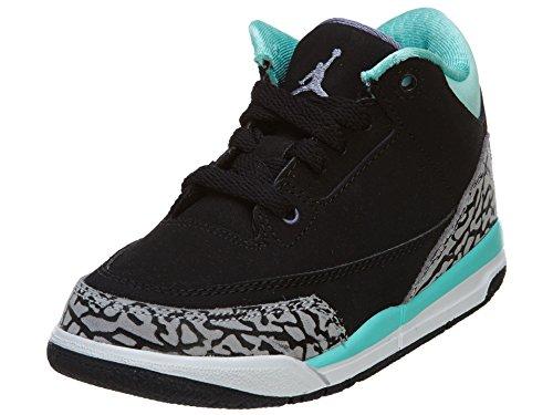 Nike Mädchen Jordan 3 Retro GP Turnschuhe Schwarz / Lila (Schwarz / Violett-Blchd Eisen Turq)