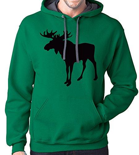Moose Hoodie Sweatshirt, 3XL, Green
