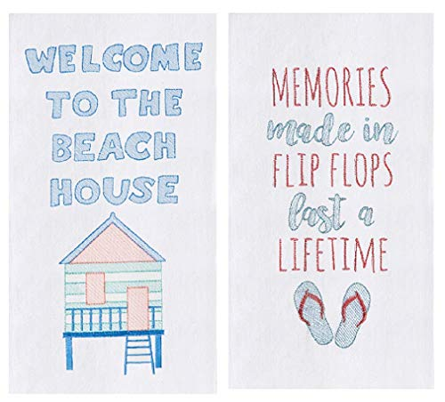 C&F 2 Piece Embroidered Beach House Flour Sack Kitchen Towel Set (Embroidered Towels Beach)