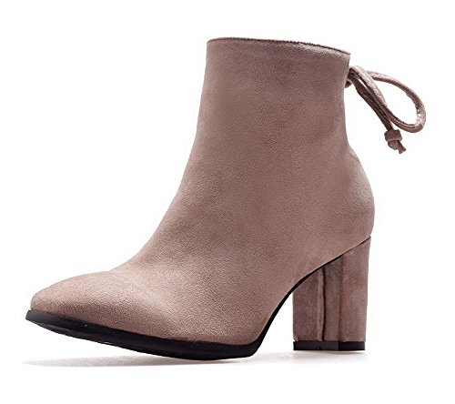 Solid Boots Zipper AgooLar Women's Heels Square Toe Apricot High Lining Velvet RHHFUqAOW