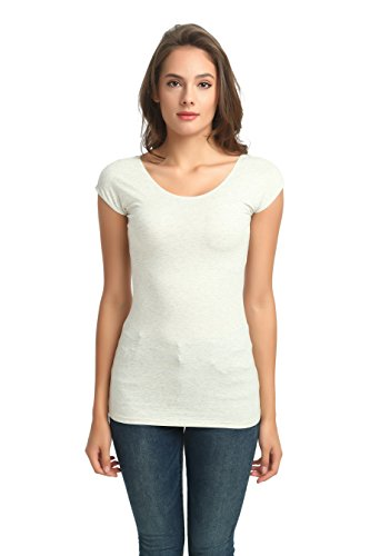zhAjh Womens Cotton Modal Spandex Triblend Scoopneck Cap Sleeve Tee T-Shirt (Oatmeal,Small)