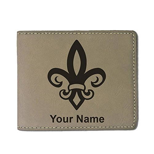 Faux Leather Wallet, Fleur de Lis, Personalized Engraving Included (Light Brown)